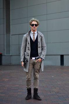 Grey coat, khakis, boots