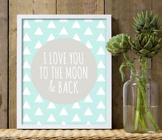 I love you to the moon and back boys nursery by customedgestudio