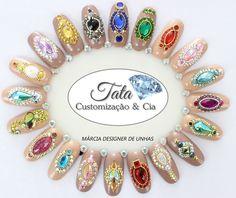 Pedrarias e customização Love Nails, Fun Nails, Nails Design With Rhinestones, Nail Jewelry, Rhinestone Nails, Nail Tutorials, Coachella, Nail Designs, Hair Beauty