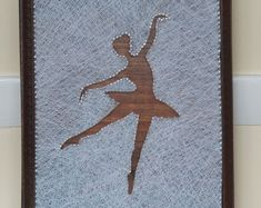 Ballerina. String art.Home decor. Natural Home. Rustic decor.Wooden Wall art.