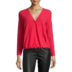 Cooper & Ella Alyssa Faux-Wrap Blouse (175 CAD) ❤ liked on Polyvore featuring tops, blouses, deep red, surplice blouse, sweater pullover, long sleeve pullover, faux wrap top and red top