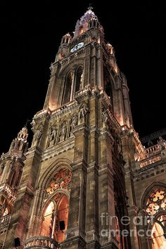 Rathaus Tower Photograph by John Rizzuto Vienna, Barcelona Cathedral, Fine Art Prints, Tower, Building, Photography, Travel, Photograph, Viajes