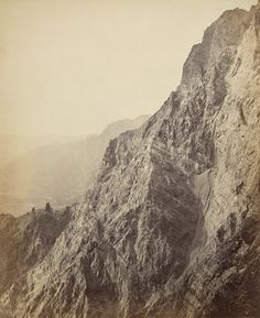 Precipices near Nynee Tal, outer range of Himalaya overlooking plain by Samuel Bourne 1865