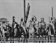L-R: Duck Chief Siksika, Heavy Head Kainai, Bob Riding Black Horses Kainai, Cross Child Kainai, unidentified, Gets Lots Of Wood At Night ,Kainai