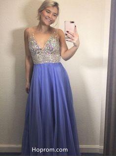 Lavender V neck Prom Dress with Beading. Hoprom 79c7995d6