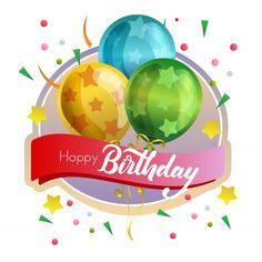 Birthday Label With Star Pattern Balloon Happy Birthday Ballons, Happy Birthday Clip Art, Free Birthday Card, Happy Birthday Wallpaper, Birthday Cheers, Happy Birthday Beautiful, Birthday Blessings, Happy Birthday Pictures, Happy Birthday Messages