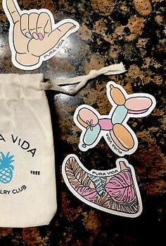 6 Pack NEW Pura Vida Beach Sticker Pack Summer 2020 With Drawstring Bag | eBay Surfboard Fins, Pretty Hands, Balloon Animals, Roller Skating, Invite Your Friends, 6 Packs, Beautiful Beaches, Balloons, Packing