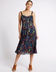 Bali Floral Print Slip Dress   M&S