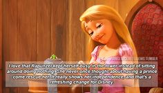 """""""I love that Rapunzel kept herself busy in the tower instead of sitting around doing nothing. She never once thought about having a prince come rescue her. It really shows her independence, and thats a refreshing change for Disney."""""""