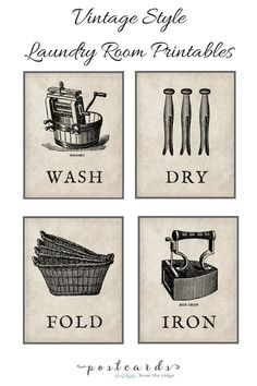 Vintage Style Laundry Room Printables - These vintage prints are awesome and can be easily framed and hung in your utility room. Link for printable is noted in article.