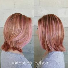 Rose Gold Hair with Ribbons of Baby Pink