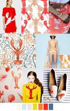 LOBSTER // #print #pattern #colour #lobster #collage #fashion #fabric #textiles #design #inspiration