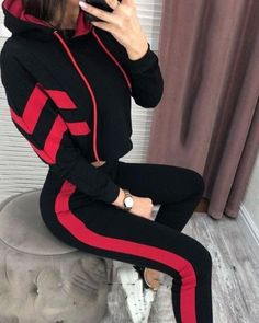 Style:Fashion Pattern Type:Print Material:Polyester Neckline:Hooded Sleeve Style:Long Sleeve Length:Regular Occasion:Casual Package Include:Top & Pant Sets Note: There might be difference accor. Teen Fashion Outfits, Sporty Outfits, Swag Outfits, Classy Outfits, Cute Outfits, Style Fashion, Pantsuits For Women, Casual Tops For Women, Teenager Outfits