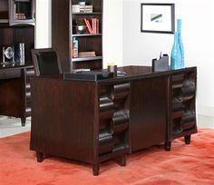 Fuqua Traditional Black Cherry Wood Executive Desk