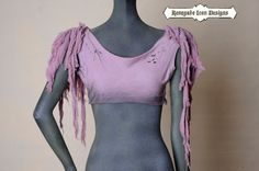 lavendar, crop top, distressed, hand dyed, Raw, primitive, dark, edgey :Zombie Couture by Renegade Icon Designs