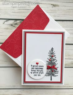 Learn how to create a simple Christmas card using Stampin Up Season Like Christmas Stamp Set - Mary Fish StampinUp card