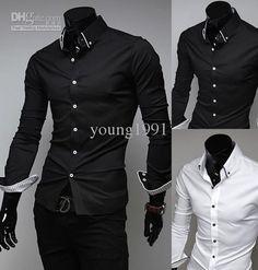 2015 New Men Suit Dress Shirts Style Black White Slim Fit Top Design Casual M-XXL, $17.33 | DHgate.com