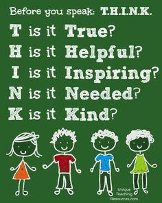 Let's teach our students to T.H.I.N.K. before they speak.