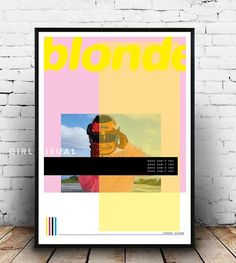 In my own interpretation, this print is inspired by Frank Oceans album Blonde The print features a collage effect with wonderful bright colours! Very minimal and fresh this is the perfect gift for a Frank ocean fan, and will look cool in any space! This is my own interpretation of the frank ocean blonde album art ! More album covers available on my page. Please message me to request an album cover in this style if not shown, I will always try my best to do them! Why not make your own gallery…