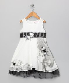 Take a look at this White & Gray Sheer Rose Face Dress - Toddler & Girls by Bonny Billy on #zulily today!