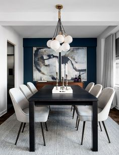 contemporary dining room design, modern dining room design with white walls, modern dining room table, modern dining room chairs and modern chandelier, neutral dining room decor Black And White Dining Room, Dining Room Blue, Dining Room Wall Decor, Dining Room Sets, Dining Room Design, Dining Room Modern, Modern Living, Dining Tables, Contemporary Dining Rooms