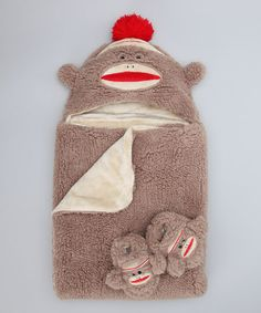 Dark Brown Sock Monkey Hooded Blanket & Booties