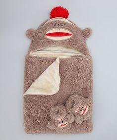 Dark Brown Sock Monkey Hooded Blanket & Booties