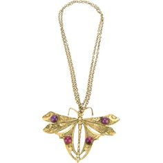 ITALIAN PRODUCTION VINTAGE dragonfly pendant necklace ($335) ❤ liked on Polyvore