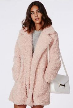 Fluffy Coats are trending: Celine Teddy Faux Fur, Pink