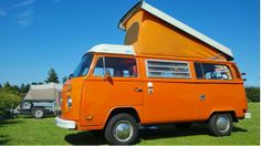 Up on the roof A VW Westfalia 'Early Bay' camper van, which features a pop up roof for sleeping accommodation. (John Cairns/Alamy)