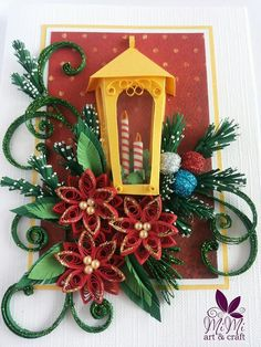Christmas greeting card - quilling