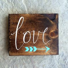 Custom Small Hand Painted Wooden Love Sign With by TheRusticViolet