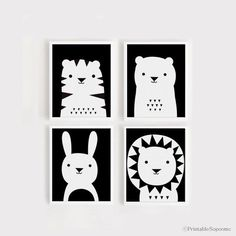 art print download Nursery Art Set of 4 Animal Poster Tiger Bear Bunny Lion Baby room Child room decor for kids Black and white printables