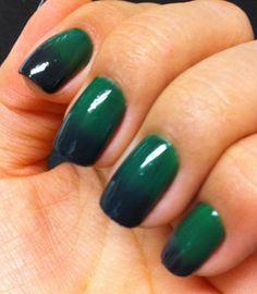Tutorial – Unhas ombré em verde esmeralda e preto por Melissa Menezes