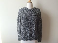 Vintage Marled Black and White Sweater by Baxtervintage on Etsy