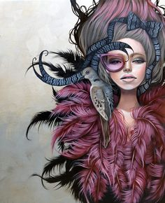Kurtis Rykovich's Immortals, a new series of paintings- pouting women, feathers and eye glasses. http://eclectix.com/blog/2013/03/25/kurtis/