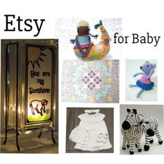 Fashion set Baby Shower Ideas created via Knit Baby Dress, Baby Zebra, Nursery Room Decor, Hanging Hearts, Stuffed Toys, Kids Decor, Kids Gifts, Handmade Crafts, Baby Quilts