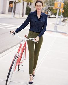 J.Crew women's new Blythe top in silk georgette, Maddie pant in bi-stretch cotton, and suede lace-up pointed-toe flats.
