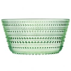 "Kastehelmi bowl. Got the original plate in dark green, it certainly needs a ""partner""."
