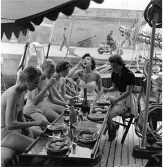 Five British models eating lunch in their swimwear on a yacht on the Cote d'Azur. Original Publication: Picture Post - 7850 - The Secret Of Five Girls On A Yacht - pub. 1955 Get premium, high resolution news photos at Getty Images Lake Pictures, Italy Pictures, Nova, Slim Aarons, Thing 1, Best Friend Tattoos, Lunch Time, Best Photographers, Photographic Prints