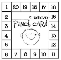 A good behavior punchcard is great idea for classroom management. The students get a hole punched on their card for good behavior and when they get all 20 holes punched they get a reward. The behavior coupons could be an option for rewards. Classroom Behavior Management, Behaviour Management, Behaviour Chart, Behavior Plans, Positive Behavior Chart, Behavior Contract, Behavior System, Behavior Interventions, Student Behavior