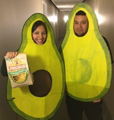 Avocado prices might be soaring, but this couples costume is about as DYI as it gets. Simply cut two large pieces of cardboard and paint 'em green, yellow and brown. Your baby bump will serve as the perfect pit. Click through for more on this and other genius homemade Halloween costumes for pregnant women.