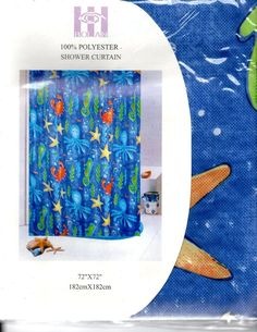 Ocean View Blue  Fabric Shower Curtain 100% Mildew-Resistant Polyester 72 X 72  #Bolan #Novelty