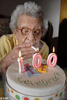 """""""Winnie Langley, who smoked for 95 years from the age of seven, has died at 102 years old - a month short of her 103rd birthday. She is pictured here lighting what was thought to roughly be her 170,000 cigarette on her 100th birthday. She gave up just before Christmas because she was no longer able to see the end of the match""""  - The Telegraph"""