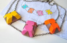 Polymer Clay Necklace with copper sheeting