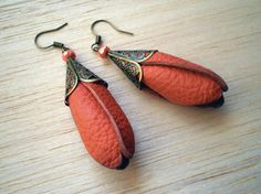 leather orange tulips and coral czech glass beads earrings