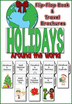 Teaching about Holidays Around the World will be a TON of fun with this interactive flip flap book.you it includes 8 brochure-style information booklets to help your students complete the flip flap book! FUN and ENGAGING! Around The World Theme, Holidays Around The World, Around The Worlds, Preschool Christmas Activities, Classroom Activities, Classroom Ideas, School Holidays, School Fun, Winter Holidays