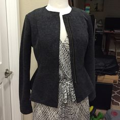 [DREW] Peplum Dark Grey Jacket Brand new. Purchased from Piperlime.  - Size S - Dark grey - 88% polyester + 12% rayon - Lining:  100% polyester - Great for the office  ** Free brand new Prada-inspired brown wallet with purchase! ** new to Poshmark? sign up with code GPHXH for $5 off! DREW Jackets & Coats