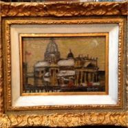 "Original and signed Comfort ""St. James"" oil painting on board 8.5 x 5.5 with beautiful intricate frame"