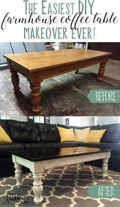 Easy and inexpensive farmhouse style coffee table makeover with distressed paint, stain, and antiquing glaze. DIY. Redo. Steel Fox Home blog renovation story. Simple modern farmhouse style decor. Fixer Upper.